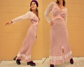 Vintage DUSTY ROSE SILK Designer Maxi Dress in Mauve Pale Pink Sheer Lace Sleeves