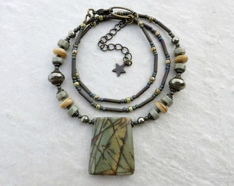 Sage Green Jasper Necklace, rustic Bohemian style beaded Picasso jasper stone pendant jewelry in gray green and yellow