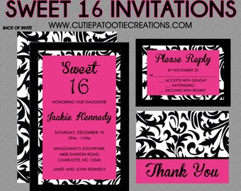 Sweet 16 Birthday Invitations - Quinceanera Invitation - Black White Hot Pink Damask - Guest & Return Addressing Available