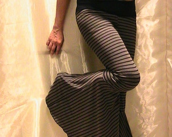 SALE!!Tribal ATS bellydance,Hippie, Festival Flared Pants with black and grey  stripes, extreme flares
