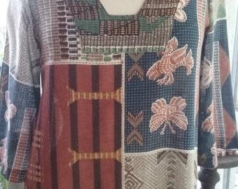 70s GILEAD--Printed Cotton Housedress--Kaftan--Birds and Butterflies--Semi Sheer--Back Zip--Size 8