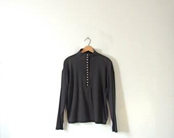 Vintage 80's long sleeved black mock turtleneck, size large