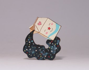 Milky way hand painted wooden brooch