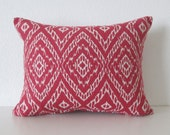 Robert Allen Strie Ikat Poppy red ivory decorative pillow cover