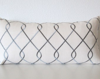 Embroidered Lattice Grey Pillow Cover