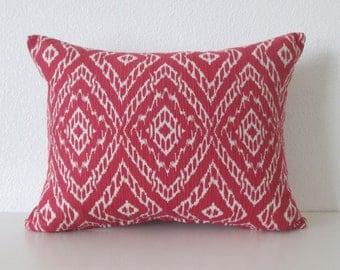 Robert Allen Strie Ikat Poppy red ivory decorative pillow cover