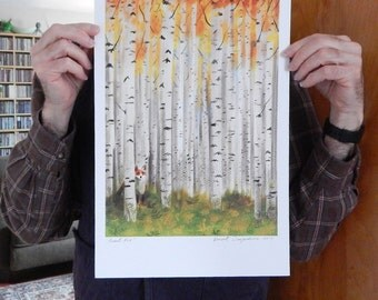 New Size Mini Poster Fox in an Autumn Birch Forest Print of Original Illustration Large Size 11 x17