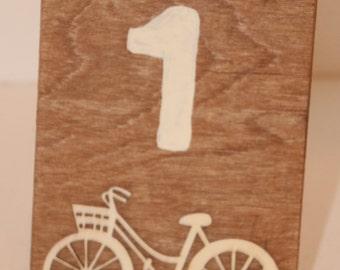 Bicycle Table Top Numbers Rustic Romantic Numbers Wedding, Events, Parties Vintage