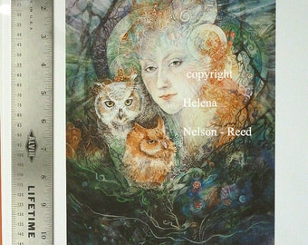 Queen of the Fae and Her Owls signed fine art giclee Helena Nelsonreed