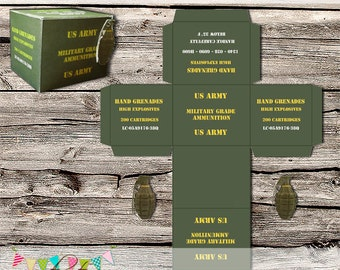 Army Hand Grenade Treat Box - Army Birthday Party, Laser Tag, Paintball, Skirmish - Printable - DIY - Digital File - INSTANT DOWNLOAD