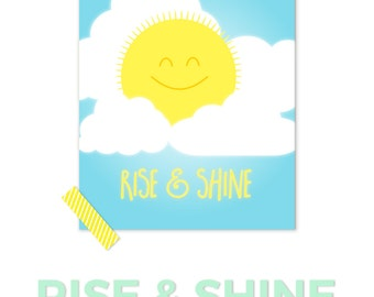 Rise And Shine Print, Baby Room Art, Sun Nursery, Childrens Art, Cloud Nursery, Kids Wall Art, Happy Sun, Kawaii Nursery, Nursery Art