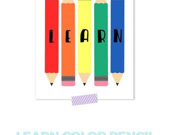 Gifts for Teachers, Teacher Gifts, Classroom Decor, Classroom Prints, Learn, Playroom Decor, Pencil Illustration, Rainbow Nursery,