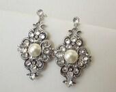 Pearl Wedding Earrings,Wedding Jewelry,Crystal Bridal Earrings,Swarovski Crystal Earrings,Bridal Jewelry,Bridal Rhinestone Earrings,CLAUDE