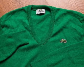 Garan Sweater, Preppy Kelly Green V-Neck Pullover Shirt, Vintage 80s