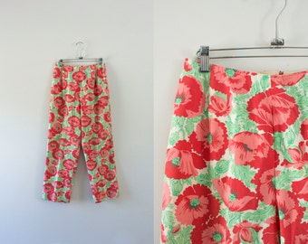 1950s Tropical Paradise high waisted pants / 50s floral bloom
