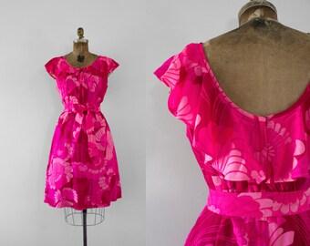 1960s Hawaiian Paradise neon day dress / 60s tropical beauty