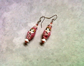 Pink and White Russian Doll Earrings (1502)