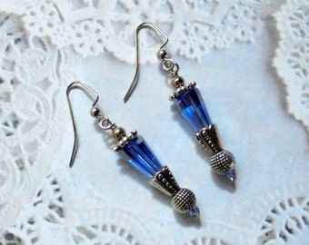 Sapphire Blue and Silver Earrings (2529)