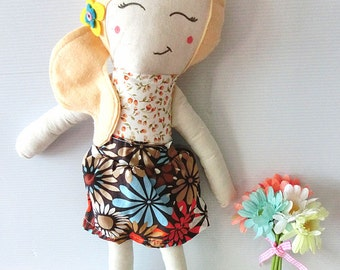 Amanda Doll Traditional Rag Doll Retro Floral