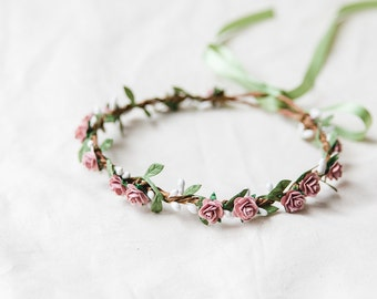 mauve pink rose, leaf & berry flower crown // bridal wedding flower crown headband rustic forest garden spring woodland headpiece