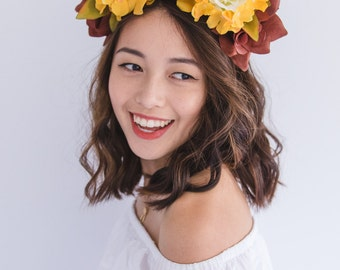 natural boho white orange brown autumn flower crown // spring racing, races statement floral headpiece headband, races melbourne cup