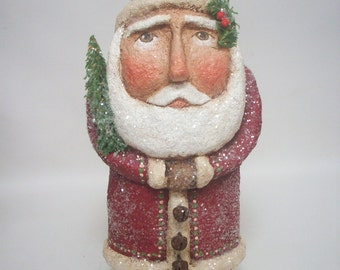 Paper Mache Folk Art Belsnickle Santa