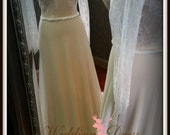 Nude and Ivory Stretch Wedding Dress with Long Sleeves Comfortable Bridal Gown
