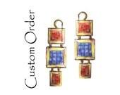 Custom Order for Barbara: Mosaic Earrings - Red Jasper, Lapis Lazuli, 18K gold and 22K Gold