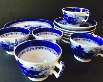 Large Lot of c1820 Chinese Landscape Porcelain Cup and Saucer Bowls and Plate