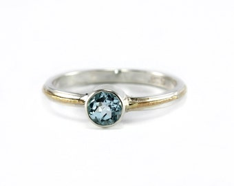 Natural Soft Blue Aquamarine Two Tone Ring - Sterling Silver, Textured 14k Yellow Gold - Unique Engagement, Anniversary, Promise Ring