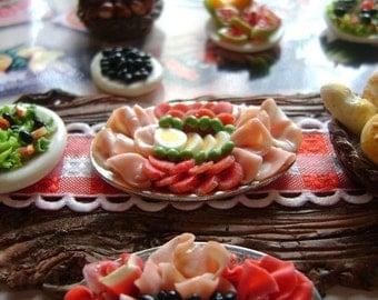 Dollshouse food 12th scale, antipasti platter, miniatures food