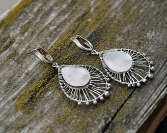 Rose Quartz Wire Wrapped Dangle Earrings OOAK