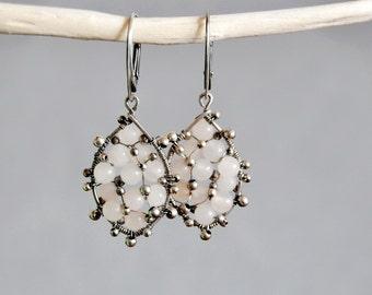 Peach Aventurine Wire Wrapped Dangle Earrings OOAK / Antiqued Silver