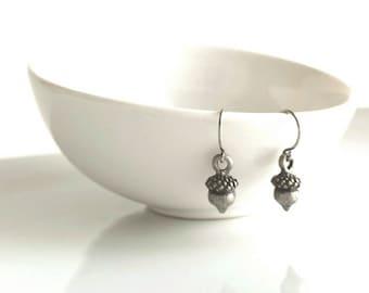 Silver Acorn Earrings - tiny gunmetal / antique silver grey little mini acorns on small simple delicate hooks - Minimalist Squirrel Nuts
