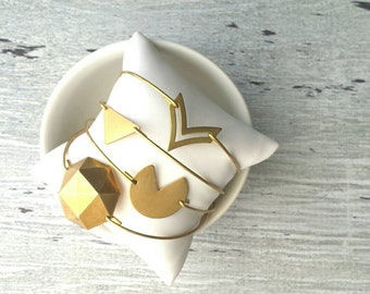 Geometric Bangle Bracelet - gold raw brass vintage style round shape - stacking stack stackable - choose triangle chevron polyhedron modern