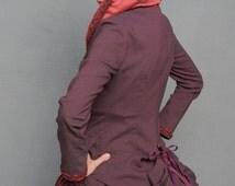 Burgundy Pirate  Bustle Coat, Steampunk, Goth, Vampire, Renaissance, Cosplay, Valentine, Neo-Victorian,
