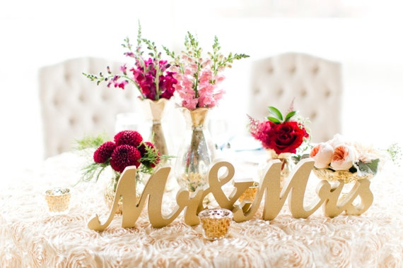 Gold Mr and Mrs Sign Wedding Sweetheart Table Decor Mr & Mrs Wooden Letter Large Thick Mr and Mrs Wedding Sign (Item - MTS100)
