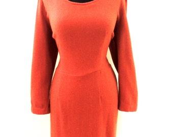 vintage wool dress - 1960s rust wool dress
