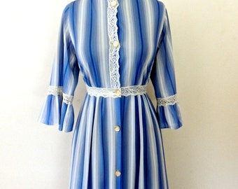 vintage striped maxidress - 1970s blue lacy striped long dress