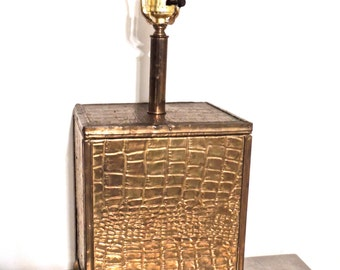vintage gold box lamp - 1950s-60s mid century gold hollywood regency lamp