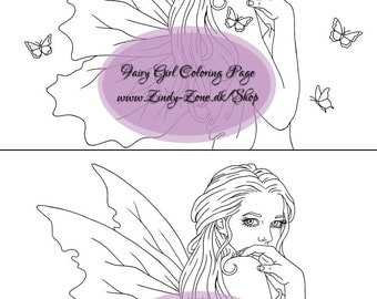 Fairy Girl Fae Butterflies Fantasy Flower Coloring Page Zindy Nielsen