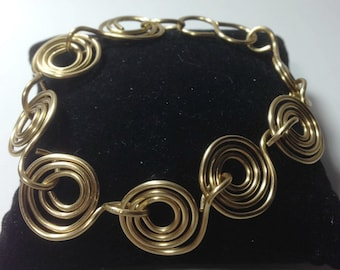 Artistic Wire Gold Coiled Bracelet