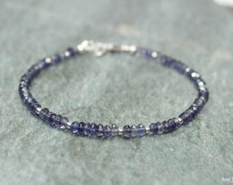 Iolite Bracelet, Sterling Silver Beads, Iolite Jewelry, Minimalist, Layering Bracelet, Gemstone Jewelry