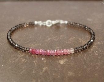 Pink Sapphire and Smokey Quartz Bracelet, Pink Sapphire Jewelry, Layering, Gemstone Bracelet