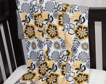Floral Black Yellow and Gray Blanket