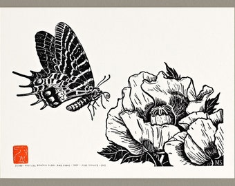 Mystical Bhutan Glory and Poppy - Handmade Letterpress Print