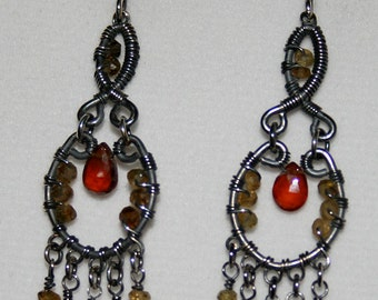 Handmade Wire Wrapped Oxidized Silver Earrings with Hesonite Garnet and Petro Tourmaline