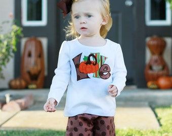 Thanksgiving Outfit, Pumpkin Outfit, Ruffle Pants, Toddler Outfit, Baby Girl, Personalized Shirt, Boutique Clothing, Fall Outfit