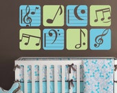 "Wall decal BOXED MUSIC NOTES Colorful vinyl art stickers decor for nursery boys & girls byGraphicsMesh (Set of 8 - 11"" each)"