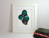 Black and teal modern flower linocut 9x12 handprinted printmaking